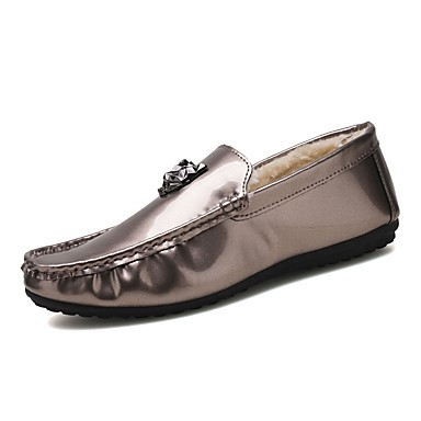 Herren Schuhe PU Frühling Herbst Komfort Mokassin Tauchschuhe Flaum Futter Loafers & Slip-Ons Für Normal Party & Festivität Gold Schwarz