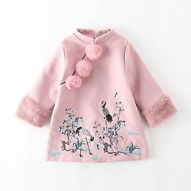 Mädchen Kleid Ausgehen Lässig/Alltäglich Patchwork Bestickt Polyester Herbst Winter Langarm