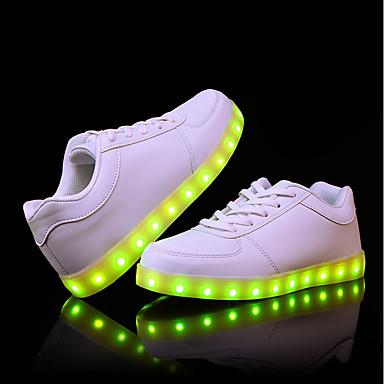 Herren Schuhe PU Herbst Winter Komfort Leuchtende Sohlen Leuchtende LED-Schuhe Sneakers LED Für Normal Weiß Schwarz