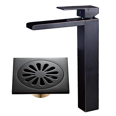 Mittellage Wasserfall Keramisches Ventil Einhand Ein Loch Öl-riebe Bronze , Waschbecken Wasserhahn