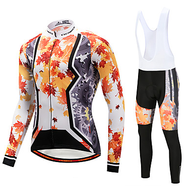 CYCOBYCO Męskie Długi rękaw Koszulka i spodnie z szelkami na rower - White Black Rower Zestawy odzieży, 3D PAD, Quick Dry Poliester Runo