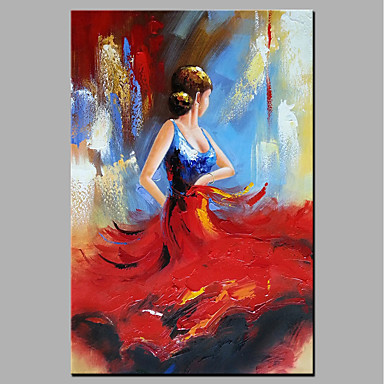 cheap Wall Art-Oil Painting Hand Painted - People Modern Rolled Canvas