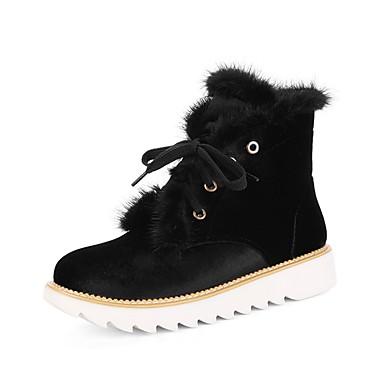 Bottes Rouge rond Bas Botte Bout Talon Bottes Similicuir Confort de Demi Hiver neige Femme 06415131 Chaussures Noir Bottine PaqS00