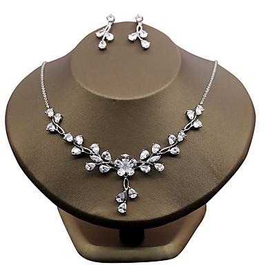 Damskie Cyrkonia Cyrkon Kwiatowy Biżuteria Ustaw - Kwiatowy White Na Ślub Party Wieczór