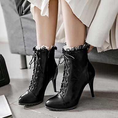 Dentelle Similicuir pointu Automne en Couture Mode Chaussures Demi à Botte Printemps 06373860 Bout Confort Bottes la Femme Bottes Bottine qT4P5BwWB