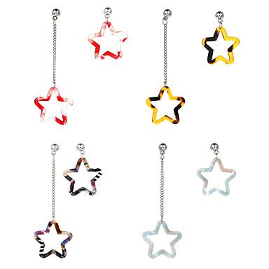 Damen Nicht übereinstimmend Tropfen-Ohrringe Unterschiedliche Ohrringe - Harz Stern Süß Rot / Hellblau / Regenbogen Für Party Geschenk