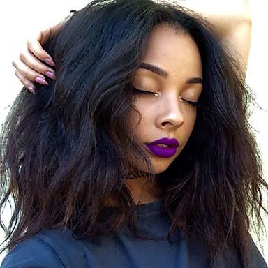 Włosy naturalne Koronkowy przód Peruka Włosy brazylijskie Water Wave Fryzura Bob Z baby hair 130% Gęstość 100% Dziewica Przedziałek na