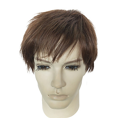 Peruki syntetyczne Kinky Straight Włosy syntetyczne Brązowy Peruka Męskie Krótki Bez czepka