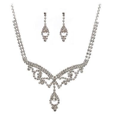 Damskie Rhinestone Imitacja diamentu Biżuteria Ustaw 1 Naszyjnik Náušnice - Klasyczny Geometric Shape Silver Kolczyki wiszące Naszyjnik Na