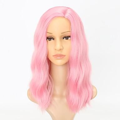 Peruki syntetyczne Kędzierzawy Pofalowana Naturalna linia włosów Różowy Damskie Bez czepka Peruka imprezowa Lolita Wig Peruka naturalna