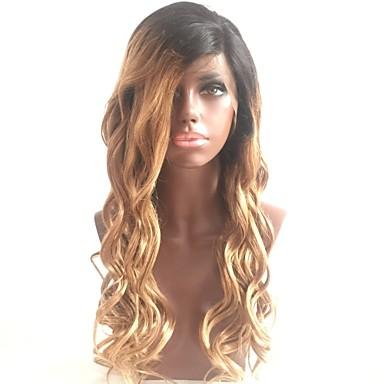 Włosy naturalne Koronkowy przód Peruka Włosy brazylijskie Luźne fale / Naturalne fale Fryzura Bob / Fryzura cieniowana / Z kucykiem 130%