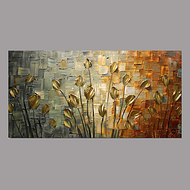 Oil Painting Hand Painted Fl Botanical Simple Rustic Modern Stretched Canvas