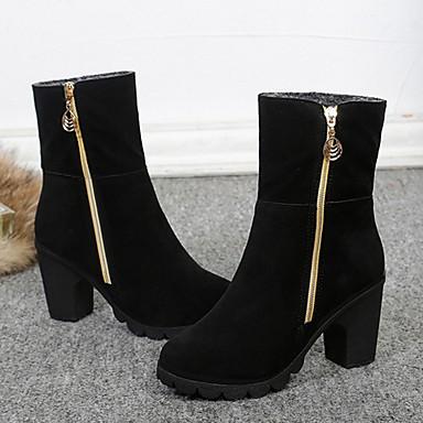 Negro Botas Gemelo 06354624 redondo Mitad Mujer nieve Botas Borgoña Cuero Nobuck Invierno de de Dedo Zapatos q7ORa0