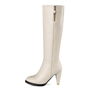 Bout Décontracté Similicuir Imitation Mode Bottes Cavalières Automne 06384649 Perle rond Chaussures Bottes Bottes Bottes à Femme la Hiver pour 1TxP5q6Tnw