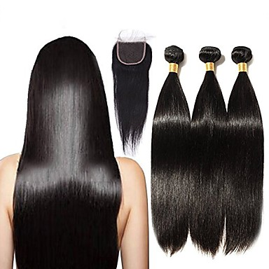 baratos Extensões de Cabelo Natural-3 pacotes com fechamento Cabelo Brasileiro Liso Cabelo Natural Remy Cabelo Humano Ondulado 16-20 polegada Tramas de cabelo humano 4x4 Encerramento Extensões de cabelo humano / Reto