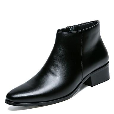 halpa Miesten kengät-Miesten Fashion Boots PU Syksy / Talvi Comfort / Cowboy / bootsit / Moottoripyöräsaappaat Bootsit Nilkkurit Musta / Juhlat