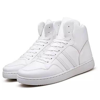 Herrn Schuhe PU Frühling Herbst Komfort Sneakers Schnürsenkel für Normal Weiß Schwarz