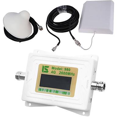 Mini intelligente lcd display 4g980 2600 mhz handy signal booster repeater mit outdoor panel antenne / indoor decke antenne weiß