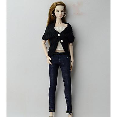 Doły / Kowboj / Topy Top / Szorty i spodnie i legginsy Dla Lalka Barbie Czarny + biały Materiał Wełna / Jeansy Top / Spodnie / Gorset Dla Dziewczyny Lalka Zabawka
