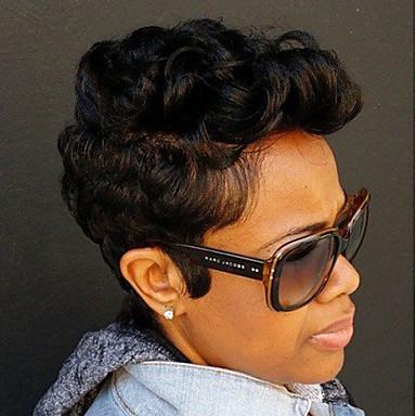 Ludzkie Włosy Capless Peruki Włosy naturalne Kędzierzawy Jerry Curl Peruka afroamerykańska Krótki Tkany maszynowo Peruka Damskie