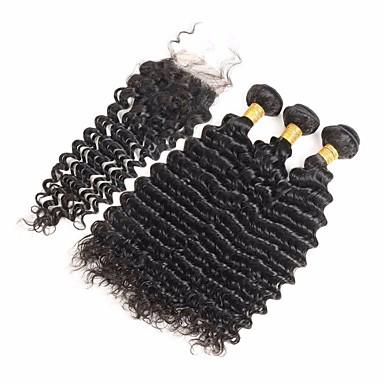 4 zestawy Włosy brazylijskie Deep Wave Włosy naturalne remy Fale w naturalnym kolorze Ludzkie włosy wyplata Ludzkich włosów rozszerzeniach