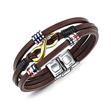 abordables Bracelet-Bracelets Plusieurs Tours Homme Géométrique Cuir Bracelet Bijoux Marron Forme Géométrique pour Quotidien Formel