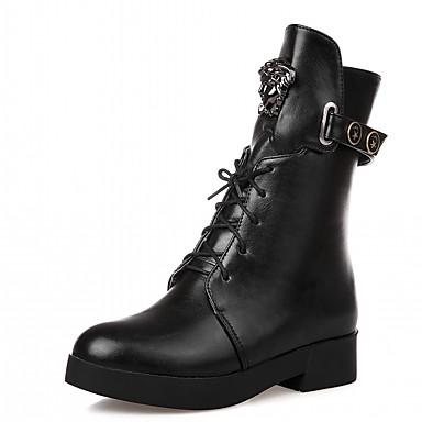 Damen Schuhe Kunstleder PU Winter Komfort Neuheit Stiefeletten Stiefel Runde Zehe Booties / Stiefeletten Schnürsenkel für Kleid Party &