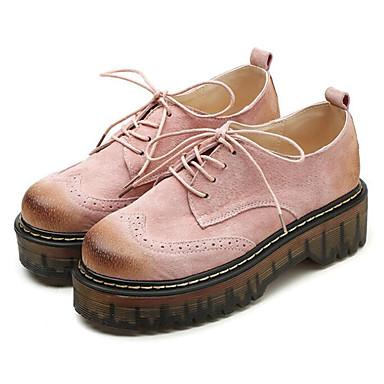 Confort Noir Gris Cuir Kaki pour Oxfords Femme Printemps Décontracté Rose 06390967 Chaussures Automne wAn4WqHI