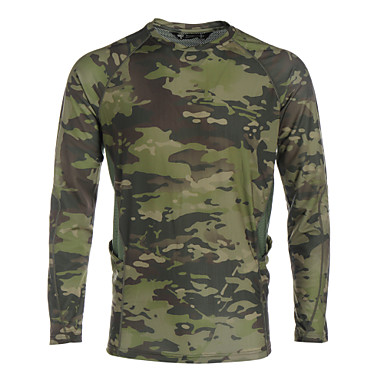 cheap Hunting & Nature-Men's Camouflage Hunting T-shirt Outdoor Waterproof Windproof Breathable Quick Dry Spring Summer Fall Top Hunting Leisure Sports Dark Green Camouflage Green Camouflage Brown L XL XXL