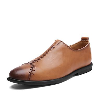 Męskie Komfortowe buty Sztuczna skóra Wiosna / Jesień Mokasyny i buty wsuwane Spacery Czarny / Jasnobrązowy / Ciemnobrązowy