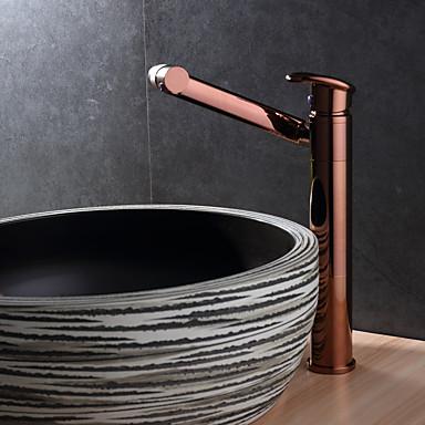 Łazienka kran zlew - Obrotowa Rose Gold Kuchyňská dřezová baterie Pojedynczy uchwyt jeden otwór