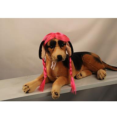 Katze Hund Perücke Hundekleidung Stilvoll Gestreift Rosa Kostüm Für Haustiere