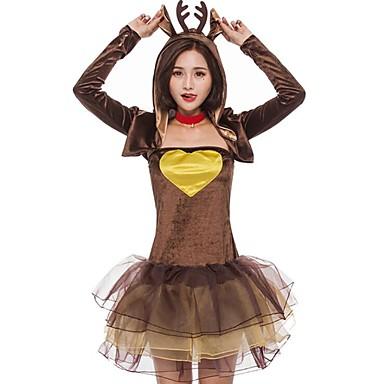 Renifer Kostiumy Cosplay Damskie Halloween Karnawał Nowy Rok Festiwal/Święto Kostiumy na Halloween Brown Wielokolorowa Zwierzę