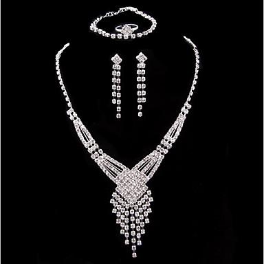 Damskie Posrebrzany Biżuteria Ustaw Zawierać 1 Naszyjnik 1 Bransoletka 1 Ring Náušnice - Klasyczny Modny Posrebrzany Zestawy biżuterii