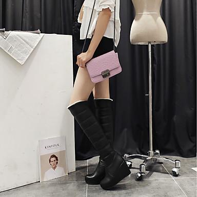 Blanc Femme Hiver Similicuir Bout Chaussures Noir Rouge Bottes fourrure en Doublure Bottes de 06373834 neige Cuissarde rond qOqUxCrw