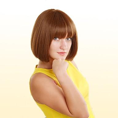 Menschliches Haar Capless Perücken Echthaar Glatt Kinky Glatt Natürlicher Haaransatz Medium Maschinell gefertigt Perücke Damen