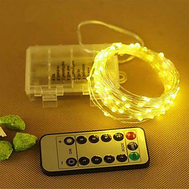 10 m Łańcuchy świetlne 100 Diody LED SMD 0603 Ciepła biel / Zimna biel / RGB Pilot zdalnego sterowania <5 V 1 szt. / IP65