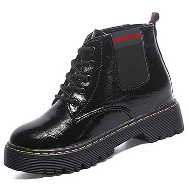 Damen Schuhe PU Herbst Winter Komfort Springerstiefel Stiefel Runde Zehe Mittelhohe Stiefel Schnürsenkel Für Normal Schwarz