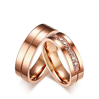 Męskie Damskie Pierścionek zaręczynowy Band Ring Cyrkonia Rhinestone Różowe złoto Cyrkonia Stal tytanowa Elegancki Słodkie Ślub Party