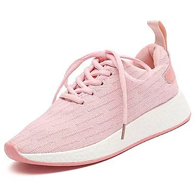 Damen Schuhe Gummi Winter Komfort Sportschuhe Runde Zehe Schnürsenkel Weiß / Schwarz / Rosa