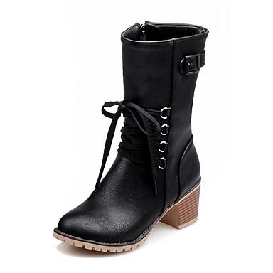 Damen Schuhe Kunstleder Winter Reitstiefel / Modische Stiefel Stiefel Runde Zehe Mittelhohe Stiefel Reißverschluss / Schnürsenkel Schwarz