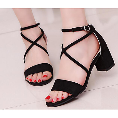 Damen Schuhe Nubukleder Frühling Sommer Komfort Sandalen Für Normal Schwarz Grau Rosa