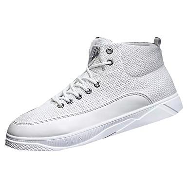 Męskie Buty Materiał Zima Jesień Comfort Tenisówki Szurowane na Casual White Black Beige