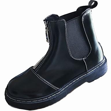 Damskie Obuwie PU Zima Comfort Modne obuwie Buciki Okrągły Toe Kozaczki / kozaki do kostki na Casual Biuro i kariera Black