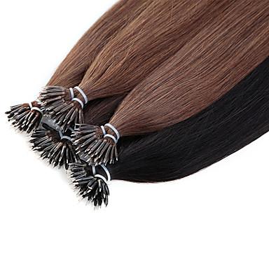 Mikrorengas-hiustenpidennykset Hiukset Extensions Aidot hiukset Suora Naisten Päivittäin