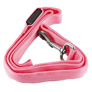 Hund Hundesnore LED Lys Sikkerhed Ensfarvet Nylon Gul Rød Grøn Blå Lys pink