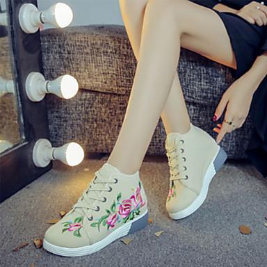 pointu Automne Nouveauté Printemps Beige Confort 06347271 Lacet Appliques amp; Bout Toile Soirée Femme Chaussures Basket Evénement qwtAcTx8a