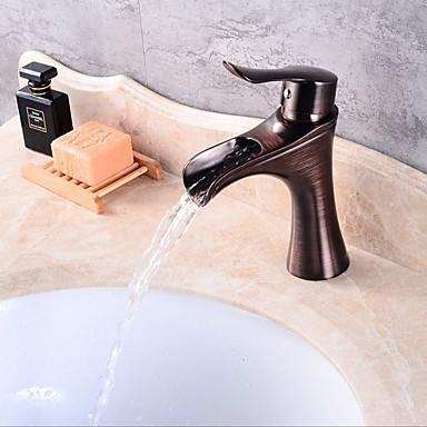 Waschbecken Wasserhahn - Wasserfall Öl-riebe Bronze deckenmontiert Ein Loch