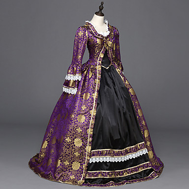 Rococo / Victorian Costume Women's Dress / Party Costume / Masquerade Purple Vintage Cosplay Satin Long Sleeve Floor Length