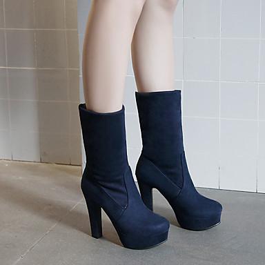 Bout 06397071 Femme la Bottier Hiver Bottes Chaussures Noir Bottes Similicuir Bottes mollet rond Bleu à Mi Mode Talon wvvT1xR